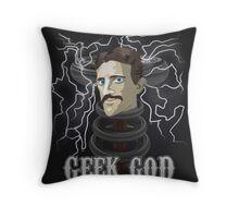 Nikola Tesla: Geek God Throw Pillow