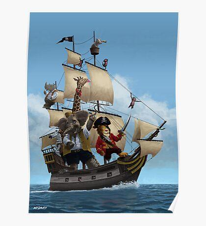 cartoon-animal-pirate-ship-martin-davey Poster