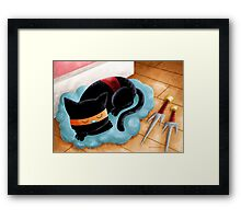 Ninja Cat Nap Framed Print