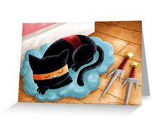 Ninja Cat Nap Greeting Card