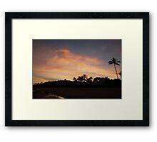 Sun down palm tree Framed Print
