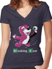 Breaking Bear Text Women's Fitted V-Neck T-Shirt