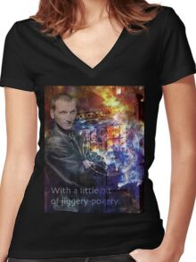 9th Doctor Who Eccelston Women's Fitted V-Neck T-Shirt