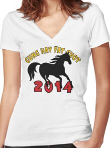 Happy Chinese New Year 2014 T-Shirts Gifts Women's Fitted V-Neck T-Shirt