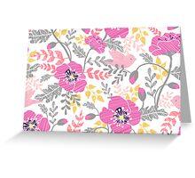 Pastel pink poppies pattern Greeting Card