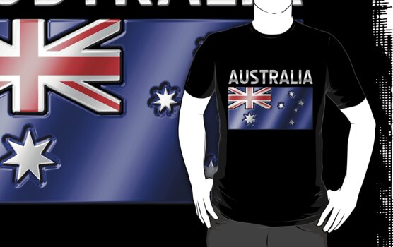 Australia - Australian Flag & Text - Metallic by graphix