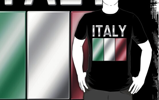 Italy - Italian Flag & Text - Metallic by graphix