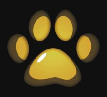 Ooh, shiny! Paw Print - Yellow by Autophobicat