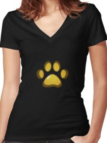 Ooh, shiny! Paw Print - Yellow Women's Fitted V-Neck T-Shirt