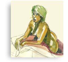 Green Blond Canvas Print