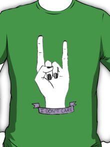 'I Dont Care' Rock On Tumblr Hand Symbol T-Shirt