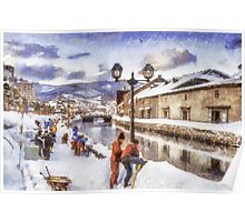 Winter in Otaru, Hokkaido, Japan Poster