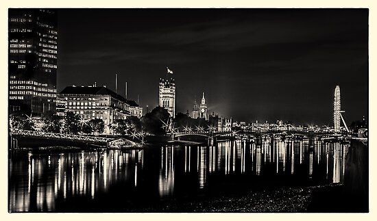 The River Thames at Night - Houses of Parliament - BW Photographic Print by RunnyCustard