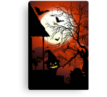 Halloween on Bloody Moonlight Nightmare Canvas Print