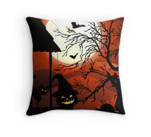 Halloween on Bloody Moonlight Nightmare Throw Pillow