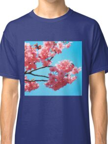 Beautiful Spring Pink Cherry Blossoms Blue Sky Classic T-Shirt