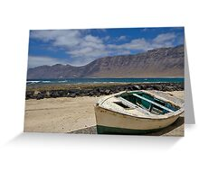 Little wooden boat on the beach Greeting Card