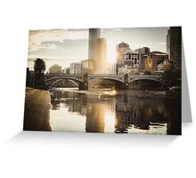 Rowers on the Yarra River at Sunset Greeting Card
