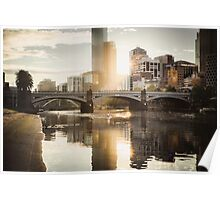 Rowers on the Yarra River at Sunset Poster