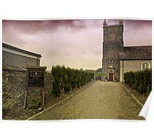 Irish Church with Moody Sky Poster