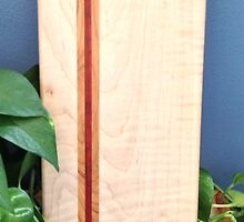 Curly Maple + Cherry / Padauk Bread Board by Robert's Woodworking Studio