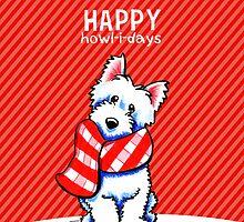 Westie Plaid Scarf Happy Howl-i-days by offleashart