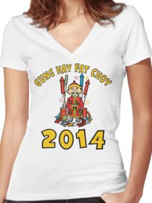 Happy Chinese New Year 2014 Women's Fitted V-Neck T-Shirt