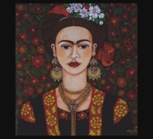 Frida with butterflies  by Madalena Lobao-Tello