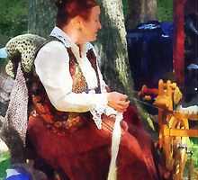 Woman Spinning Yarn at Flea Market by Susan Savad