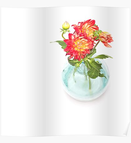 Dahlias in a vase... (9) Poster