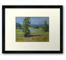 Summer Country Pond Painting in Impressionistic Realism Framed Print
