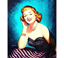 Vintage Lady with pearl necklace Photographic Print