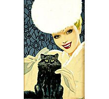 vintage lady with cat Photographic Print