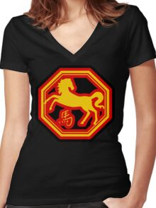 Chinese Zodiac Horse - Year of The Horse Women's Fitted V-Neck T-Shirt