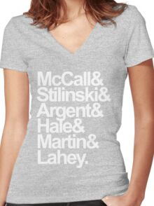 Teen Wolf Main 6 (White Text) Women's Fitted V-Neck T-Shirt