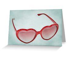 Fabulous Heart Sunglasses Dusty Blue Background Greeting Card