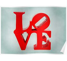 Fabulous Love on Dusty Blue Background Poster