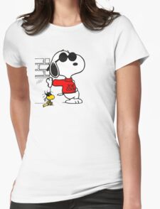 joe cool and woodstock! Womens Fitted T-Shirt