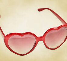 Fabulous Heart Sunglasses Dusty Cream Background by CptnLucky