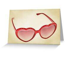 Fabulous Heart Sunglasses Dusty Cream Background Greeting Card
