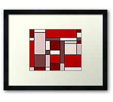 Retro Abstract Blocks in Red Framed Print