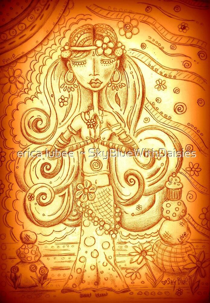 Orange Yoga Gypsy – Whimsical Folk Art Girl in Namaste Pose  by erica lubee  ~ SkyBlueWithDaisies