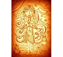 Orange Yoga Gypsy – Whimsical Folk Art Girl in Namaste Pose  Photographic Print