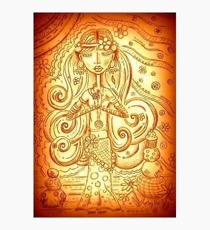 Orange Yoga Gypsy – Whimsical Folk Art Girl in Namaste Pose  Photographic Print