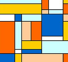 Retro Abstract Blocks in Blue and Orange by Catherina Amor