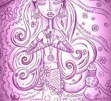 Purple Yoga Gypsy – Whimsical Folk Art Girl in Namaste Pose by erica lubee  ~ SkyBlueWithDaisies