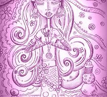 Purple Yoga Gypsy – Whimsical Folk Art Girl in Namaste Pose by erica lubee  ~ SkyBlueWithDaisies