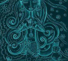Blue Yoga Gypsy – Whimsical Folk Art Girl in Namaste Pose by erica lubee  ~ SkyBlueWithDaisies