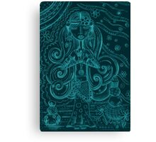Blue Yoga Gypsy – Whimsical Folk Art Girl in Namaste Pose Canvas Print