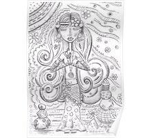 Yoga Gypsy Sketch – Whimsical Folk Art Girl in Namaste Pose Poster